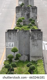 An unfinished concrete pillars for the construction of part of an expressway in Bangkok on June 20, 2017.
