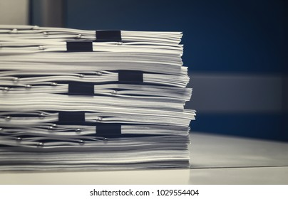 unfinished documents on office desk, Stack of business paper