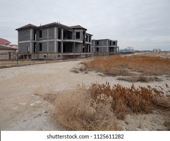 Unfinished house on the shore of the Caspian Sea. Kazakhstan.