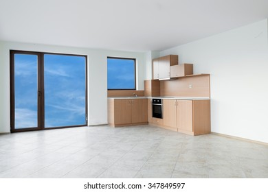 Unfinished kitchen interior - copy space