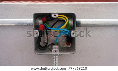 Super Unfinished Metal Electric Outlet Box Metal Stock Photo Edit Now Wiring 101 Hisonstrewellnesstrialsorg