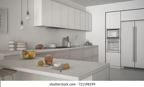 Unfinished project of classic kitchen with wooden details and parquet floor, healthy breakfast, minimalist interior design, 3d illustration