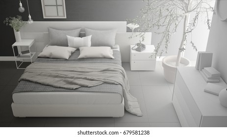 Unfinished project of minimalistic modern bedroom, sketch abstract interior design, 3d illustration
