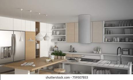 Unfinished project of modern wooden kitchen with wooden details, close up, island and gas stove with cooking pan, white minimalistic interior design, 3d illustration
