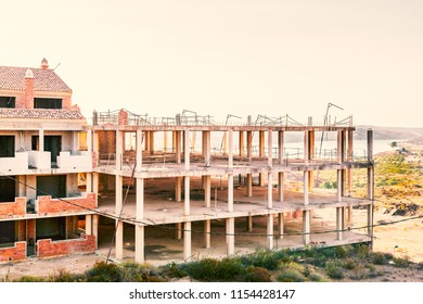 Unfinished residential buidlings in Andalucia Spain abandoned after the property bubble burst with the financial crash cerca 2007
