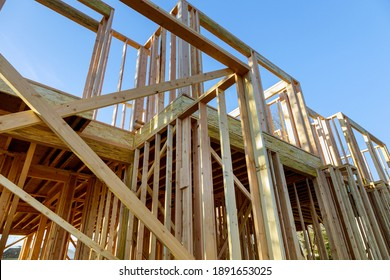 Unfinished of view of a house residential construction wall of framing against