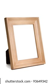 Unfinished wooden frame isolated on white