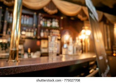 Unfocused interior of restaurant bar