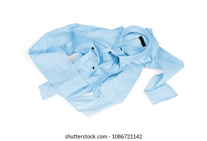 Unfolded blue man shirt on white background - Unfolded, laundry