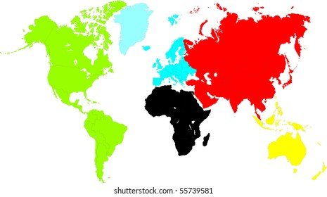 an unfolded map of the world. world map illustration. color world map