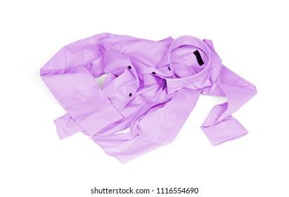 Unfolded purple man shirt on white background - Unfolded, laundry