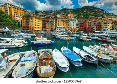 Unforgettable travel experience, stunning Mediterranean destination, colorful buildings and harbor with boats, luxury yachts, Camogli, Liguria, Italy, Europe