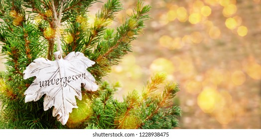 """""""Unforgotten"""", grave decorations, leaf on the Christmas tree, banner"""