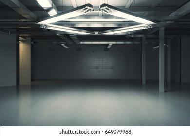 Unfurnished dark grungy interior. 3D Rendering