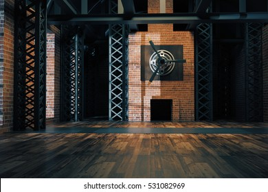 Unfurnished hangar style red brick interior with daylight. 3D Rendering