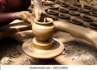 Unglazed pottery, the oldest form of pottery practiced in India, terracotta clay-pot  making, step by step
