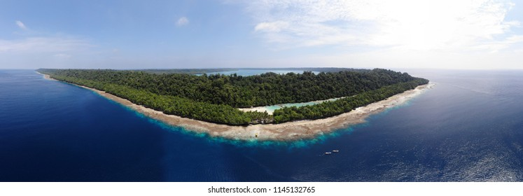 Ungraded Panoramic Aerial photo of Kakaban Island in Derawan, East Kalimantan, Indonesia.
