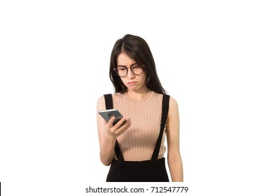 Unhappy Asian girl looking on smartphone, Angry Asian woman seeing bad massage , isolated on white background