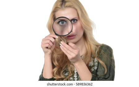 Unhappy beautiful sad woman looking at destroyed hair with Magnifying glass. isolated