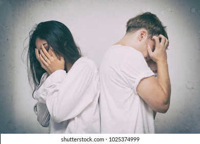 Unhappy couple having problem,Family conflict, problems in relationship, breakup