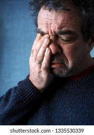 Unhappy Crying Middle Aged Man Portrait