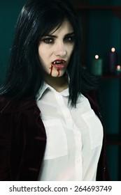 Unhappy female vampire very aggressive
