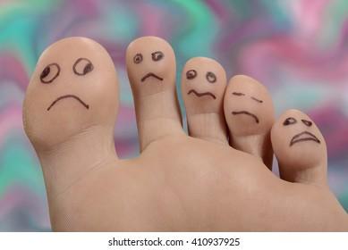 Unglücklicher Fuß und Zehen