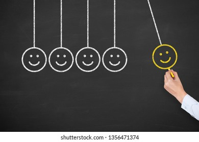 Unhappy and Happy on Chalkboard Background