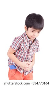 unhappy Little boy showing stomach pain