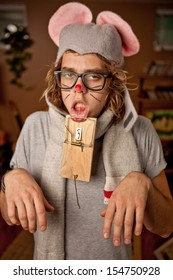 Unhappy Man wearing a mouse costume got trapped
