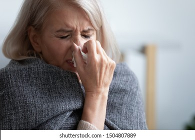Unhappy mature woman covered blanket feeling bad, sneezing close up, holding handkerchief, suffering from fever, allergic reaction or seasonal infection, upset depressed older female crying