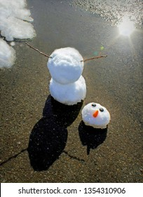 Unhappy Snowman with a Carrot Nose Melting in the Sunshine late in winter