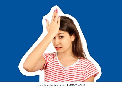 unhappy student, female worker, hand on forehead very upset sad disappointed depressed. emotional girl Magazine collage style with trendy color background.