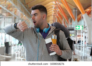 Unhappy traveler showing frustration and shock