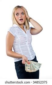 unhappy woman with dollar bills