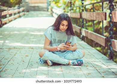 Unhappy woman texting. Closeup portrait upset skeptical serious woman chatting texting on phone displeased with conversation sitting on a woody bridge. Negative human emotion face expression feeling