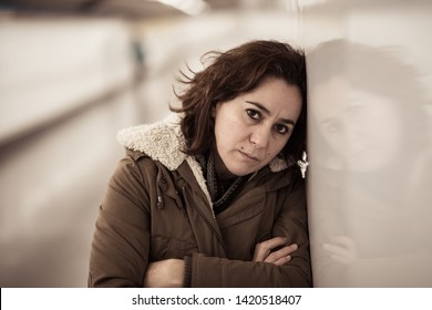 Unhappy young woman suffering from depression and stress feeling miserable lonely and hopeless in Emotional pain Mental health Work-life balance issues Abuse and gendered violence.