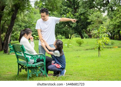 Unhappy,problems asian family,husband expelled his wife,quarreling,parents quarrel,arguing child girl listen,mother,daughter crying in outdoor,aggressive father,family conflict,violence,disagreement