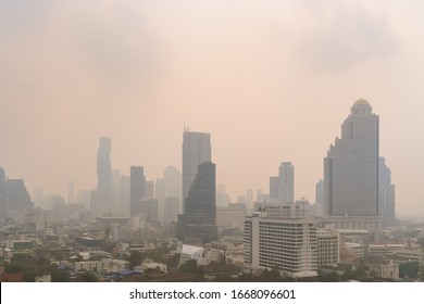 Unhealthy air pollution in Bangkok city business district, pollute with PM 2.5 dust, smog or haze, low visibility