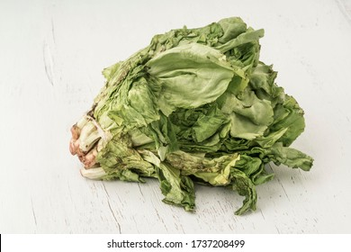 unhealthy bunch of lettuce getting rotten on a wooden table with copy space