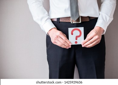 unhealthy businessman with male problem and disease