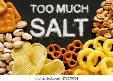 Unhealthy food concept - salt in food