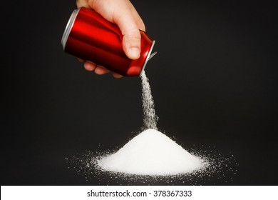 Unhealthy food concept - sugar in carbonated drinks. High amount of sugar in beverages