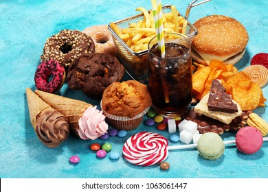 Unhealthy products. food bad for figure, skin, heart and teeth. Assortment of fast carbohydrates food.
