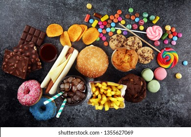 Unhealthy products. food bad for figure, skin, heart and teeth. Assortment of fast carbohydrates food with candy