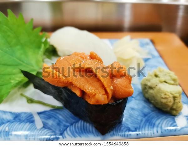 Uni sushi or Uni rice ball