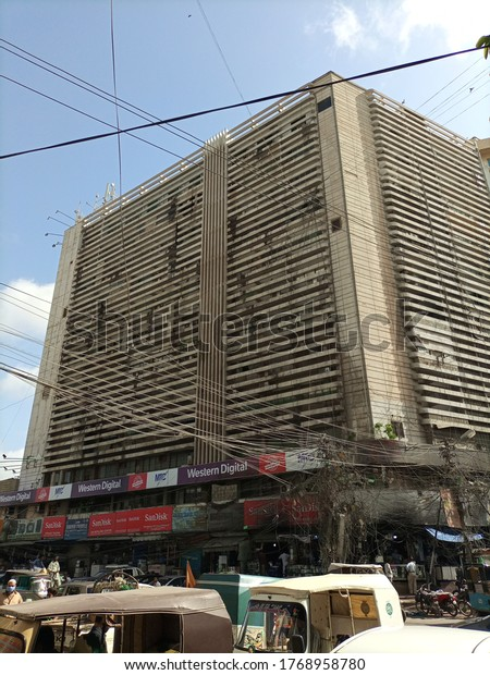 Uni plaza which is the hub of computer and it's accessories sale and purchase in the city.  Karachi Pakistan - Jul 2020