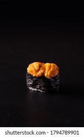 Uni Sashimi on Black Background