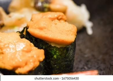Uni sushi , Japanese sea urchin suhi in japanese restaurant