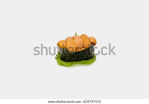 Uni sushi with white background